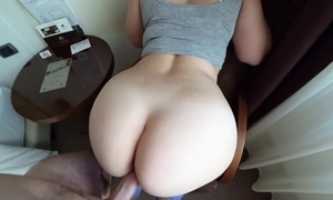 19 year aged girl nigh leggings fucks with the addition of acquires ball cream more than their way big bore