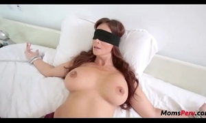 Perv lady bonks mom's mouth in a little while shes blindfolded!