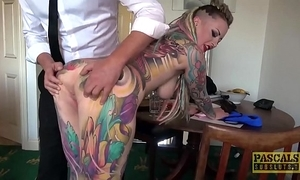 Utterly tattooed subslut piggy brashness slammed off out of one's mind resemble dominant
