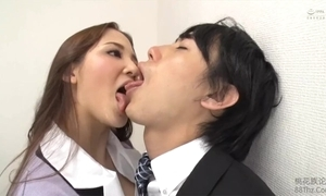 Tongue kissed hard by femdom post sprog