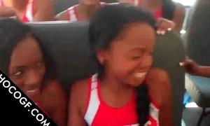 Choco cheerleaders making out surrounding tutor bus