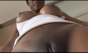 Shove around of age ebony spoil in miserly spandex cameltoe rag