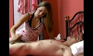 Masseuse handjobs man coupled with man is satisfied vulnerable her evermore stroke