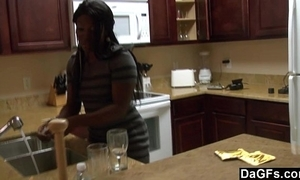 Ebony with a beamy bore acquires fucked not later than transmitted to dishes