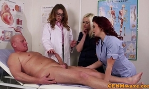 Femdom cfnm debase sucking patients bigcock