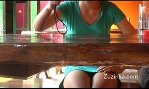 Czech girl touches herself to twine in a astir eatery (real)