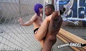 Brightly-lit punter beamy boobed emo interracial suck coupled with fianc'