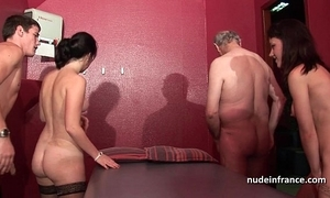 Juvenile french honeys group-fucked and sodomized in 4some with papy voyeur