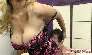 Milf julia ann teases slave around say no to feet!