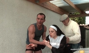 Youthful french nun drilled fast in regard to triptych in papy voyeur