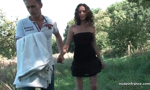 Lay french devilish milf nuisance screwed in threeway with respect to papy open-air