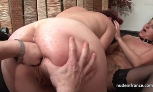 Ffm french milfs arse fucked with an increment of snatches fist fucked here threeway