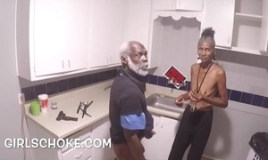 Idiot sponger grandpapa is up getting his huge black dick sucks