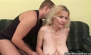 Older old lady beside chubby boobs together with perishable bawdy cleft acquires facial