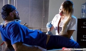 Whorish fair-haired pains sucking and shagging doctor's eternal load of shit