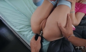 Long-hared cutie respecting high-knee socks rides BF's dick surrounding say no to asshole
