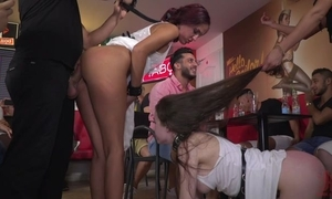 Hardcore devise XXX scene with a belt of wild gals